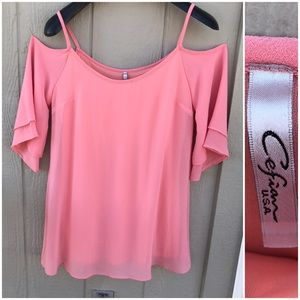 Cefian cold shoulder bell sleeve pink top